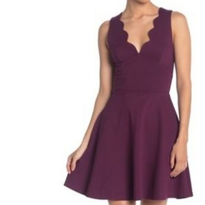 Scalloped V-Neck Mini Fit & Flare Dress 2X